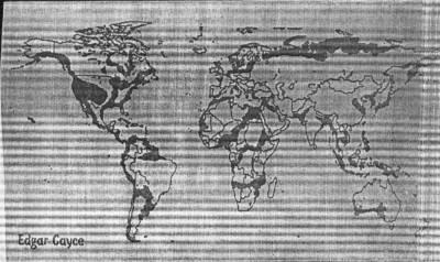 Карта изменения рельефа Земли в ближайшем будущем по предсказанию �дгара Кейси (до 2020 года).